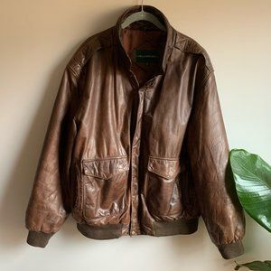 Hill & Archer Brown Leather Bomber Jacket Size 44R